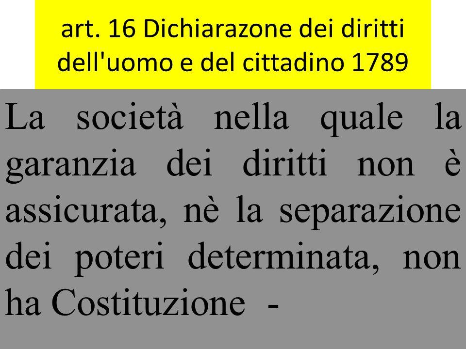 art. 16 Dichiarazone dei diritti dell uomo e del cittadino 1789