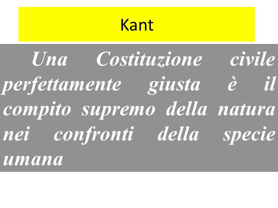Kant Una Costituzione civile perfettamente giusta è il compito supremo della natura nei confronti della specie umana.