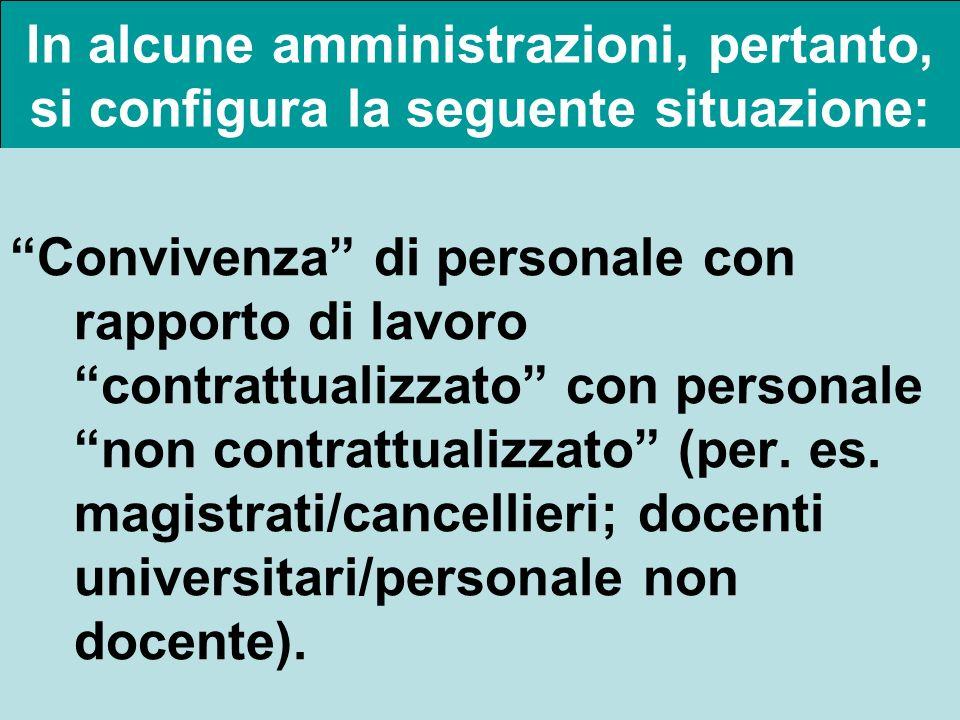 In alcune amministrazioni, pertanto, si configura la seguente situazione: