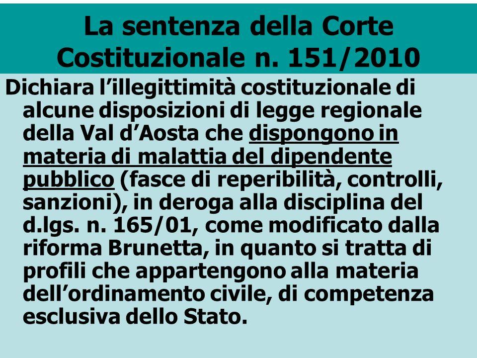 La sentenza della Corte Costituzionale n. 151/2010