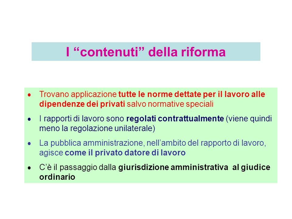 I contenuti della riforma
