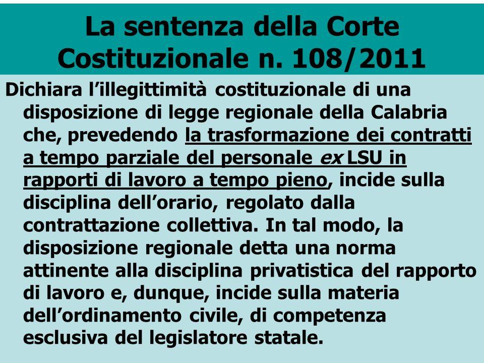 La sentenza della Corte Costituzionale n. 108/2011