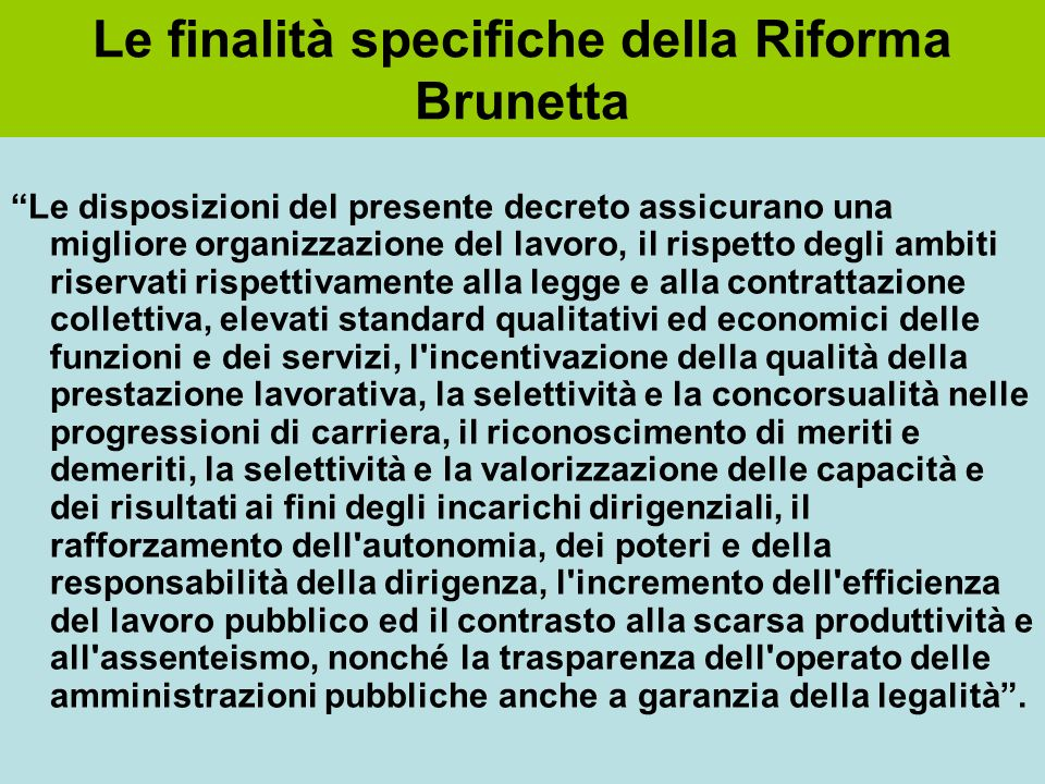 Le finalità specifiche della Riforma Brunetta