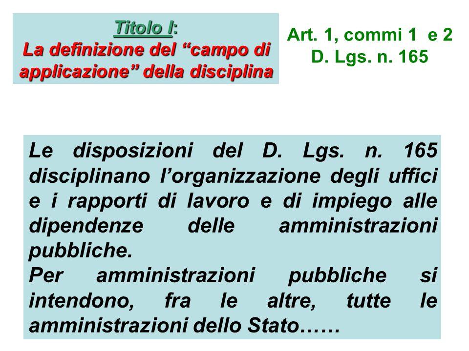 La definizione del campo di applicazione della disciplina