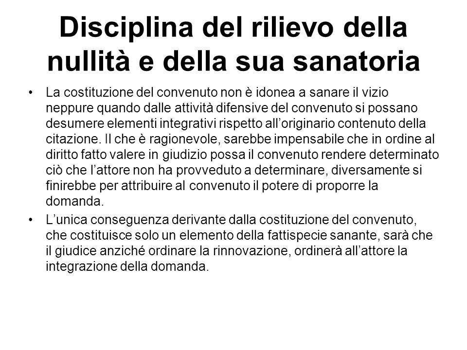 Disciplina del rilievo della nullità e della sua sanatoria