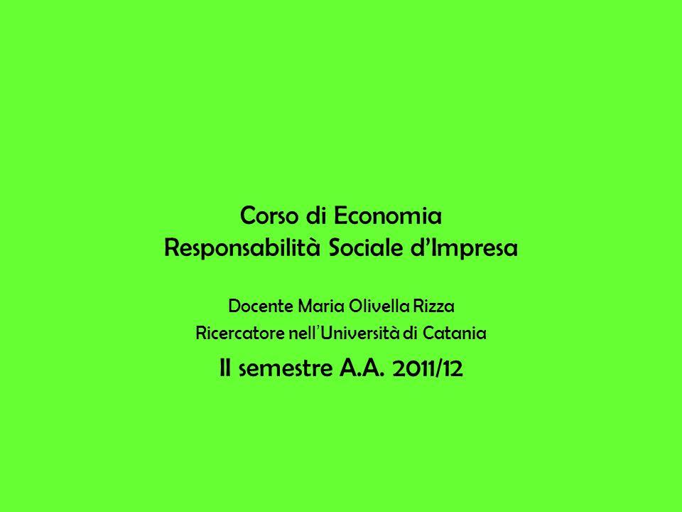 Corso di Economia Responsabilità Sociale d'Impresa