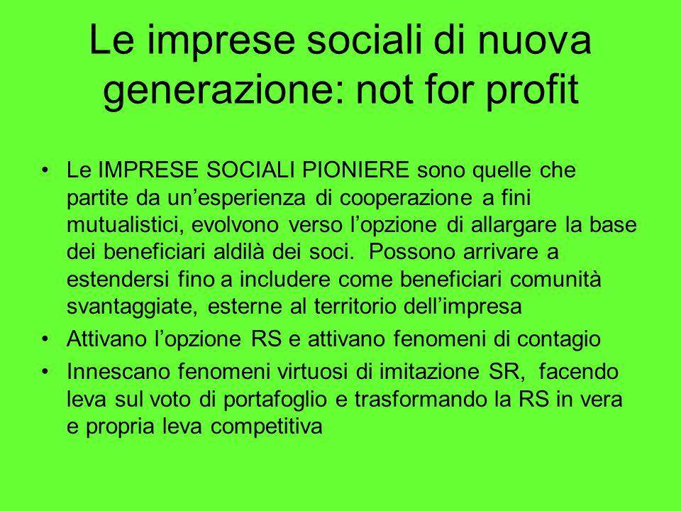 Le imprese sociali di nuova generazione: not for profit