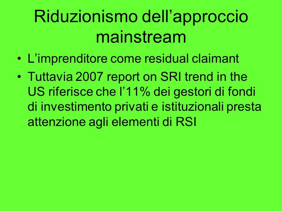 Riduzionismo dell'approccio mainstream