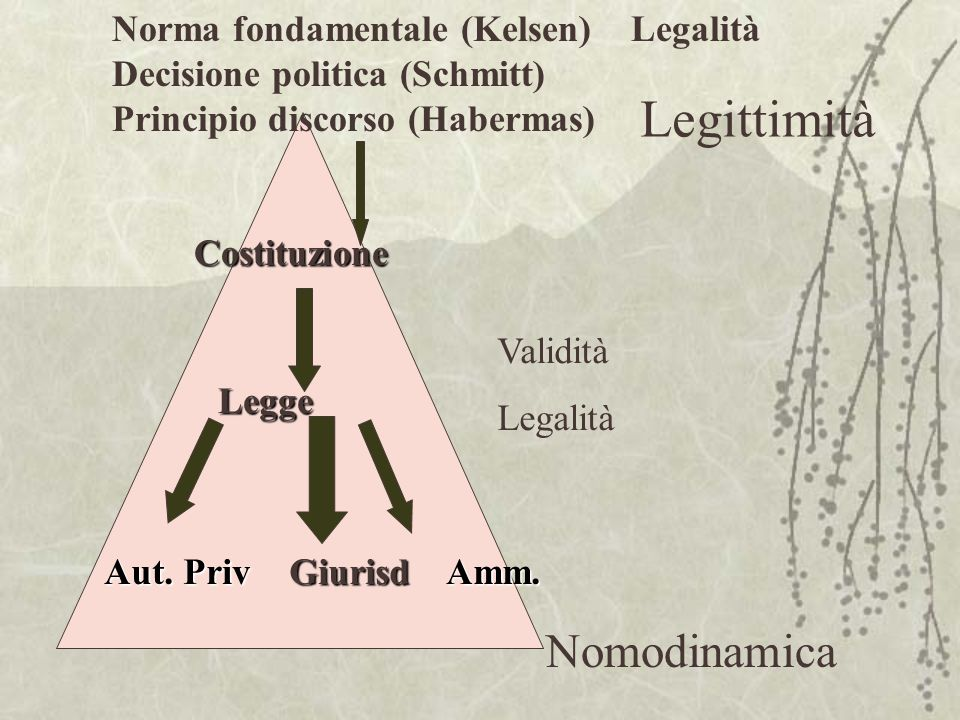 Legittimità Nomodinamica Norma fondamentale (Kelsen) Legalità