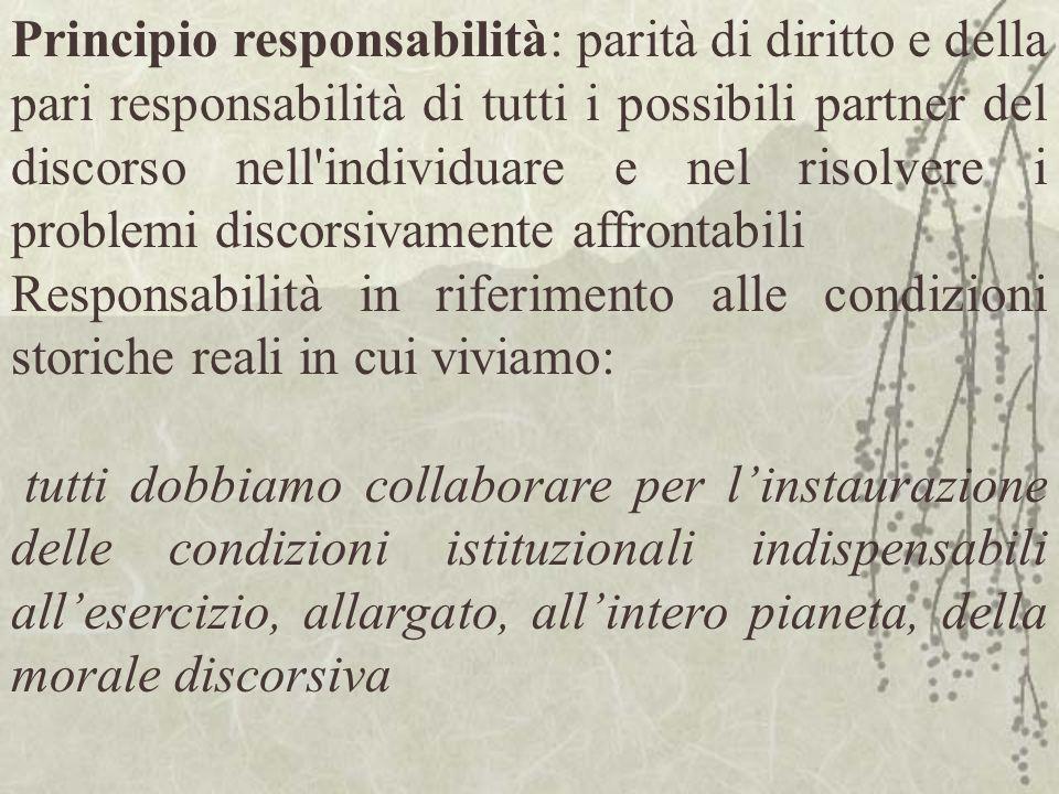 Principio responsabilità: parità di diritto e della pari responsabilità di tutti i possibili partner del discorso nell individuare e nel risolvere i problemi discorsivamente affrontabili
