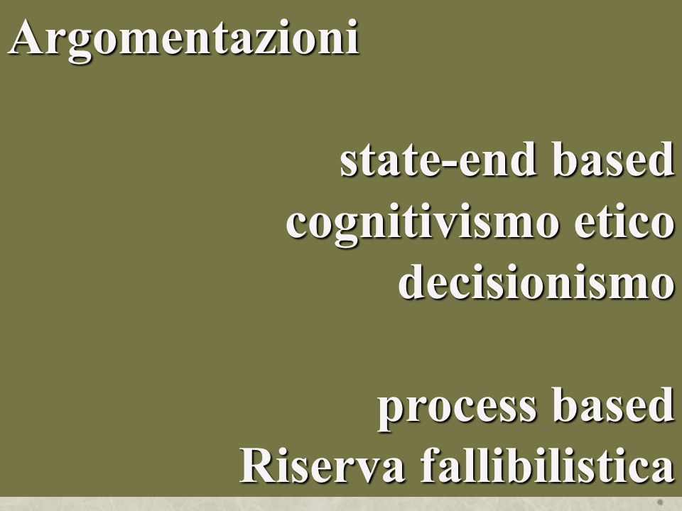 Argomentazioni state-end based cognitivismo etico decisionismo process based Riserva fallibilistica