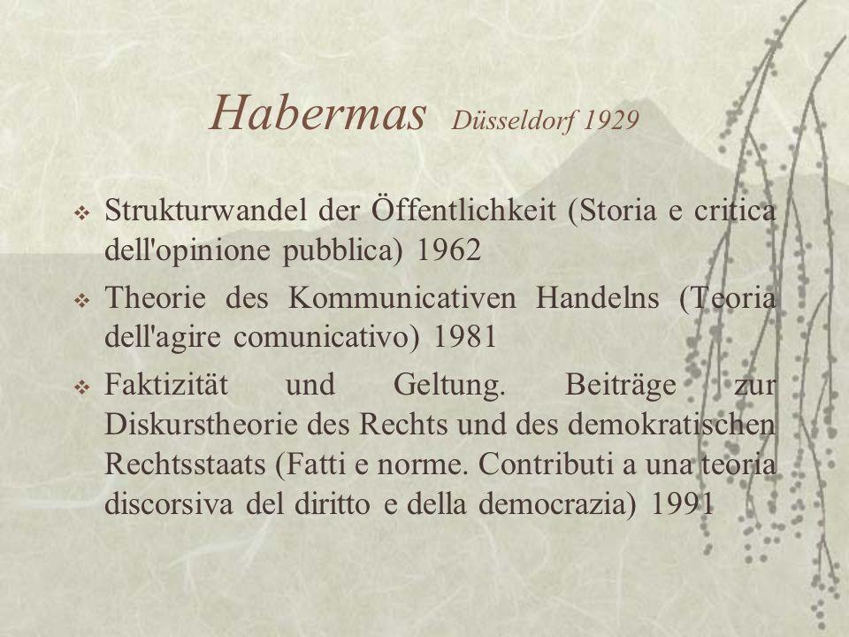 Habermas Düsseldorf 1929Strukturwandel der Öffentlichkeit (Storia e critica dell opinione pubblica) 1962.