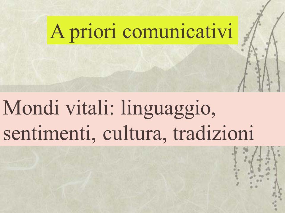 A priori comunicativi Mondi vitali: linguaggio, sentimenti, cultura, tradizioni