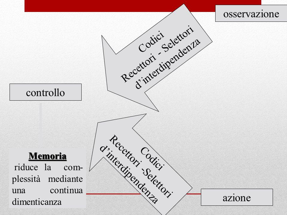 osservazione Recettori - Selettori Codici d'interdipendenza controllo