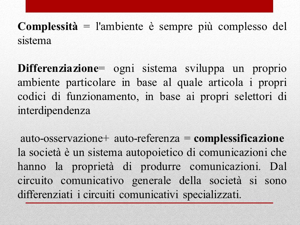 Complessità = l ambiente è sempre più complesso del sistema