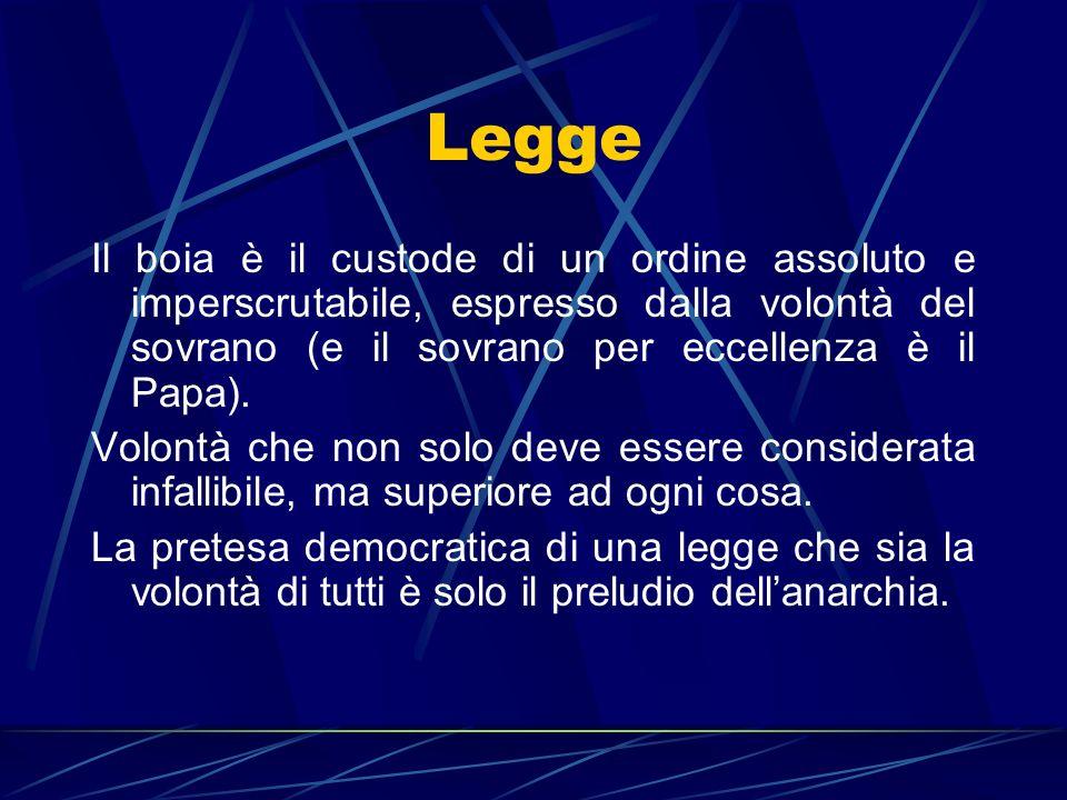 LeggeIl boia è il custode di un ordine assoluto e imperscrutabile, espresso dalla volontà del sovrano (e il sovrano per eccellenza è il Papa).