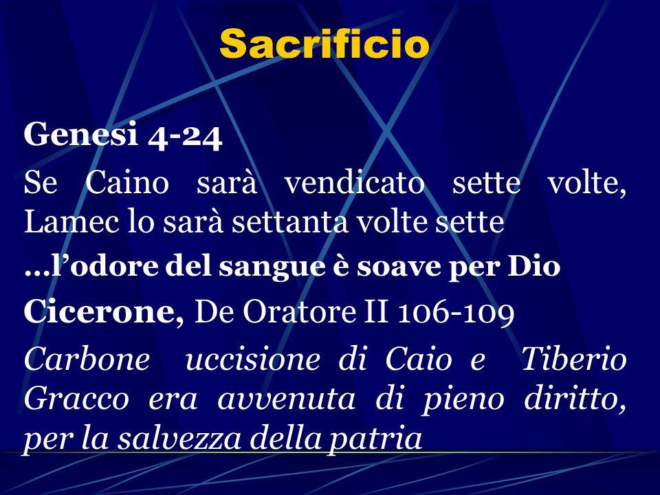 SacrificioGenesi 4-24. Se Caino sarà vendicato sette volte, Lamec lo sarà settanta volte sette. …l'odore del sangue è soave per Dio.