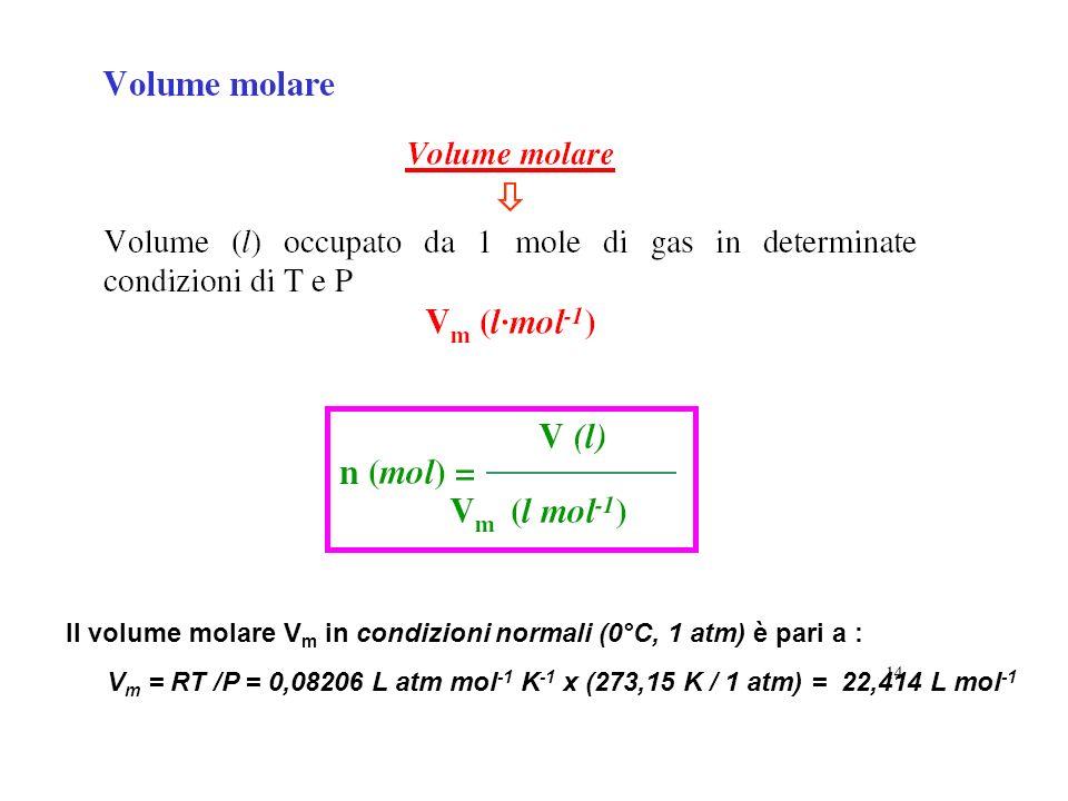 Il volume molare Vm in condizioni normali (0°C, 1 atm) è pari a :
