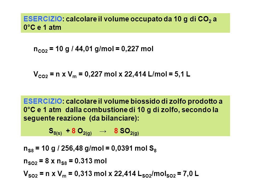 ESERCIZIO: calcolare il volume occupato da 10 g di CO2 a 0°C e 1 atm