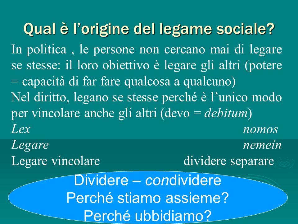 Qual è l'origine del legame sociale