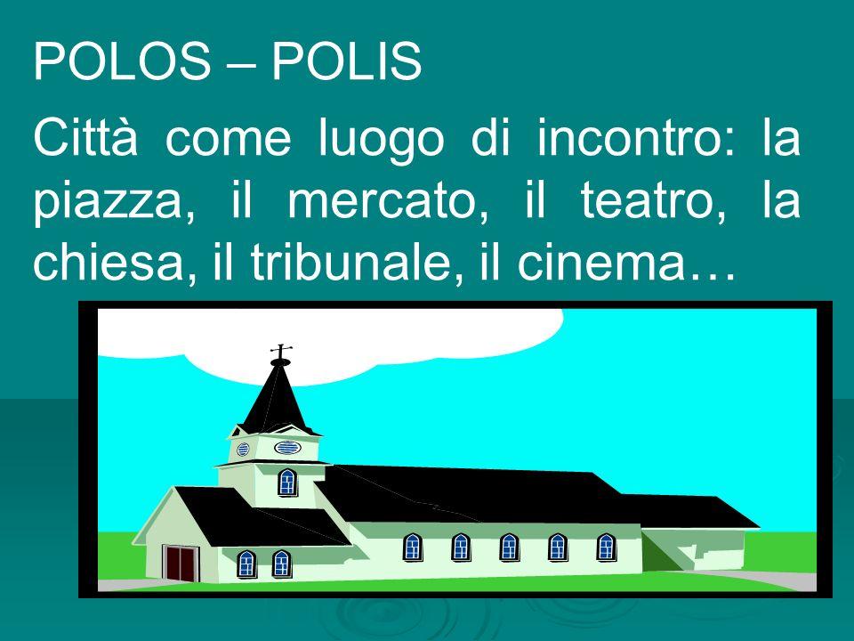 POLOS – POLIS Città come luogo di incontro: la piazza, il mercato, il teatro, la chiesa, il tribunale, il cinema…