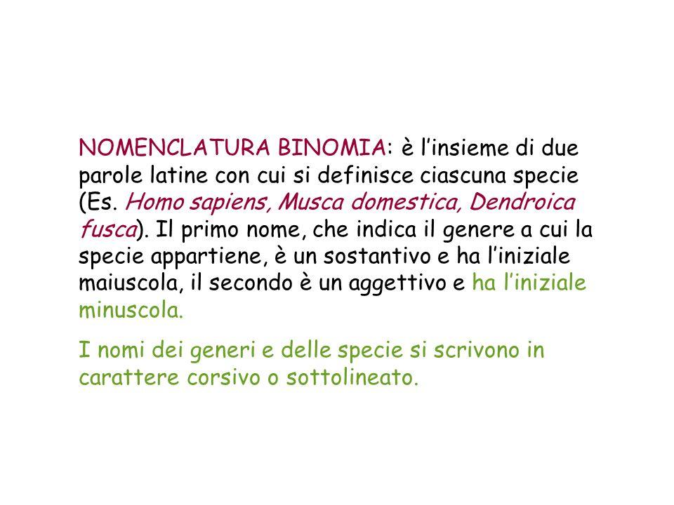 NOMENCLATURA BINOMIA: è l'insieme di due parole latine con cui si definisce ciascuna specie (Es. Homo sapiens, Musca domestica, Dendroica fusca). Il primo nome, che indica il genere a cui la specie appartiene, è un sostantivo e ha l'iniziale maiuscola, il secondo è un aggettivo e ha l'iniziale minuscola.