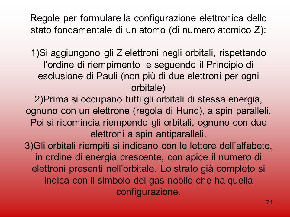 Regole per formulare la configurazione elettronica dello stato fondamentale di un atomo (di numero atomico Z):