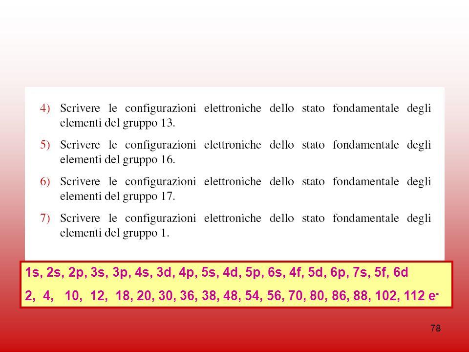 1s, 2s, 2p, 3s, 3p, 4s, 3d, 4p, 5s, 4d, 5p, 6s, 4f, 5d, 6p, 7s, 5f, 6d 2, 4, 10, 12, 18, 20, 30, 36, 38, 48, 54, 56, 70, 80, 86, 88, 102, 112 e-