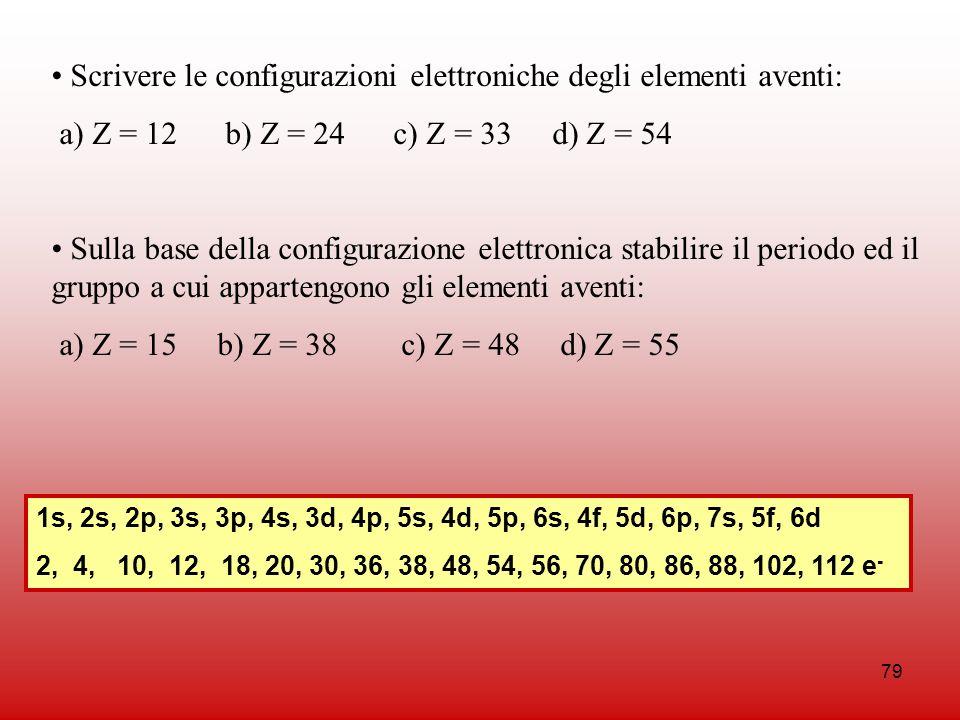 Scrivere le configurazioni elettroniche degli elementi aventi: