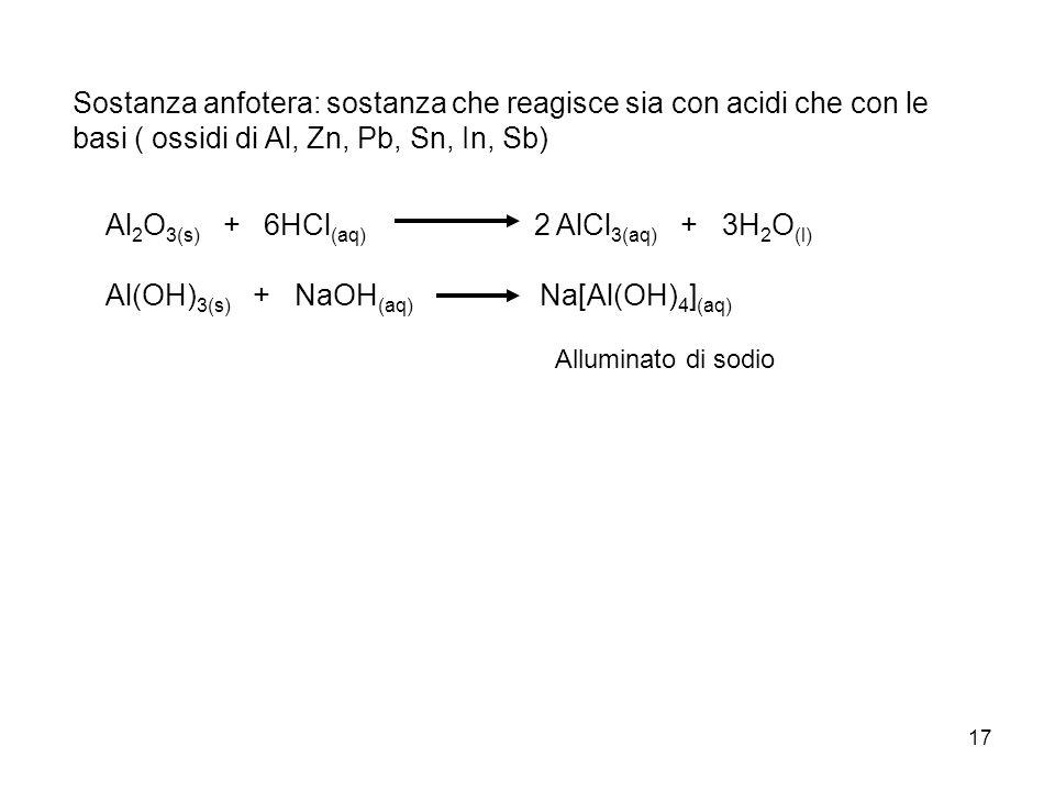 Al2O3(s) + 6HCl(aq) 2 AlCl3(aq) + 3H2O(l)