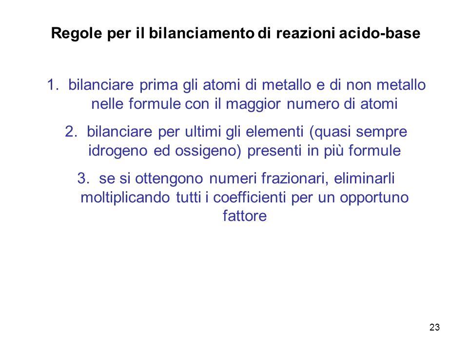 Regole per il bilanciamento di reazioni acido-base
