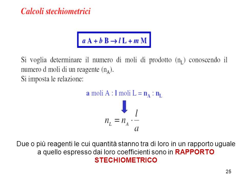 Due o più reagenti le cui quantità stanno tra di loro in un rapporto uguale a quello espresso dai loro coefficienti sono in RAPPORTO STECHIOMETRICO