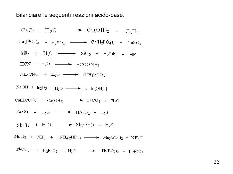 Bilanciare le seguenti reazioni acido-base: