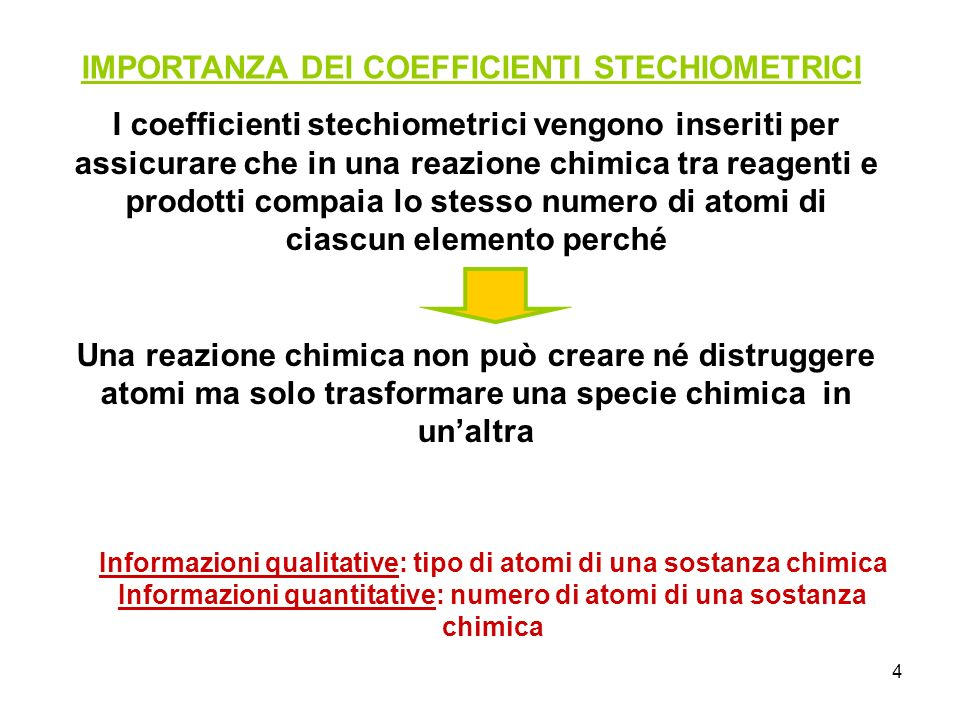 IMPORTANZA DEI COEFFICIENTI STECHIOMETRICI