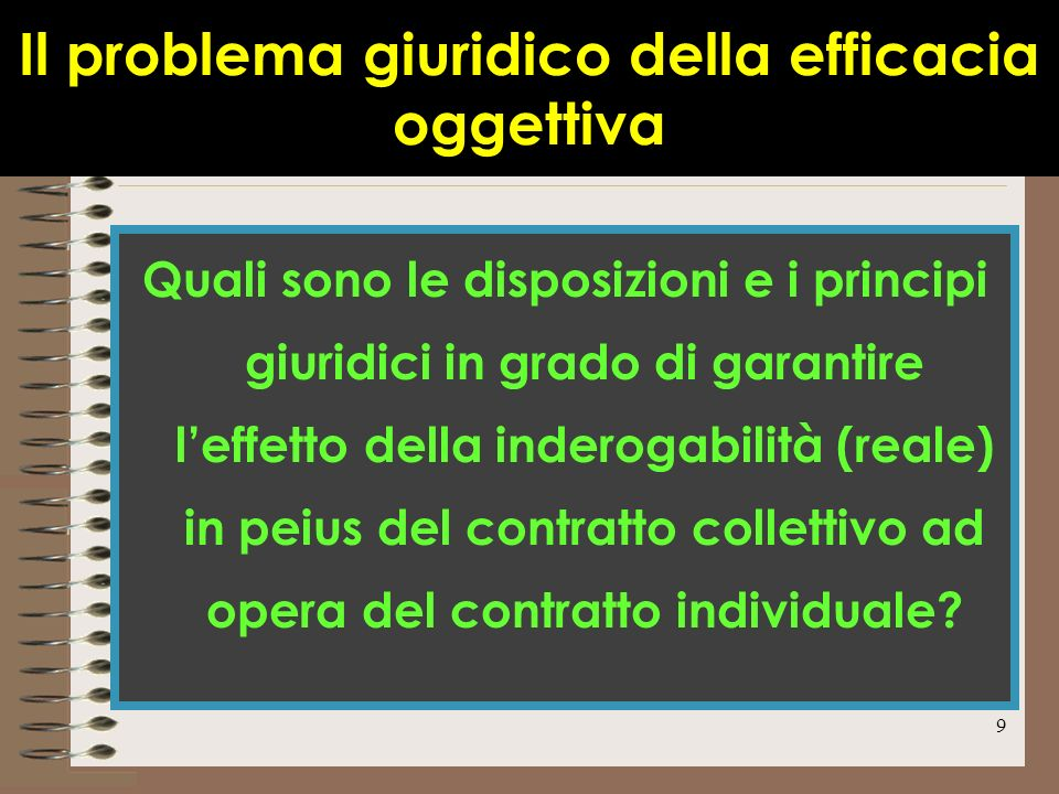 Il problema giuridico della efficacia oggettiva