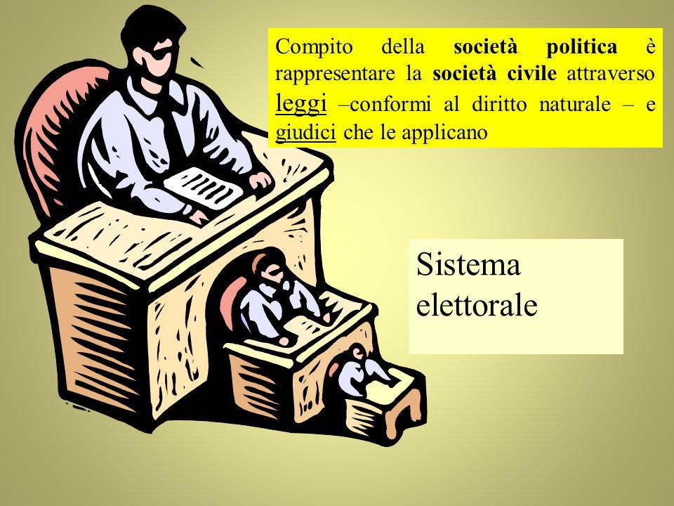 Compito della società politica è rappresentare la società civile attraverso leggi –conformi al diritto naturale – e giudici che le applicano