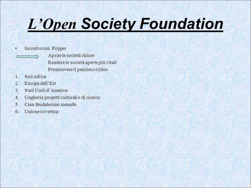 L'Open Society Foundation
