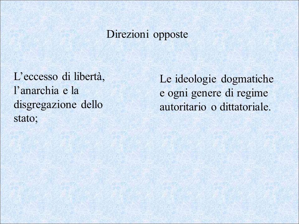 Direzioni opposte L'eccesso di libertà, l'anarchia e la disgregazione dello stato;