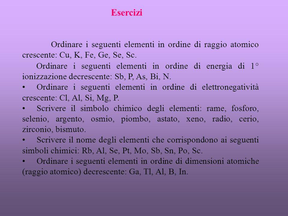 Esercizi Ordinare i seguenti elementi in ordine di raggio atomico crescente: Cu, K, Fe, Ge, Se, Sc.
