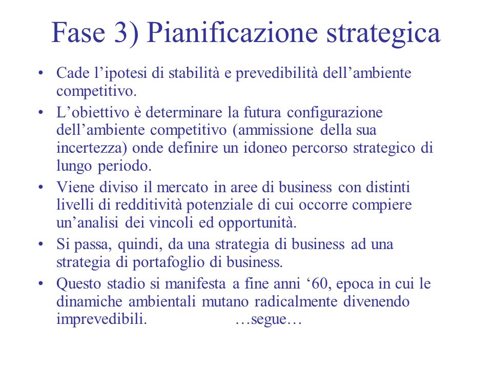 Fase 3) Pianificazione strategica