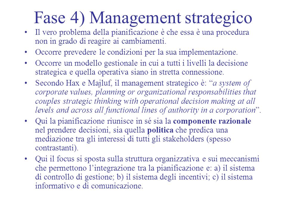 Fase 4) Management strategico