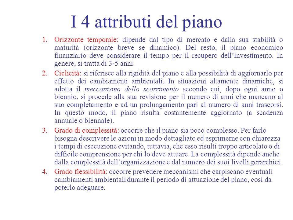 I 4 attributi del piano
