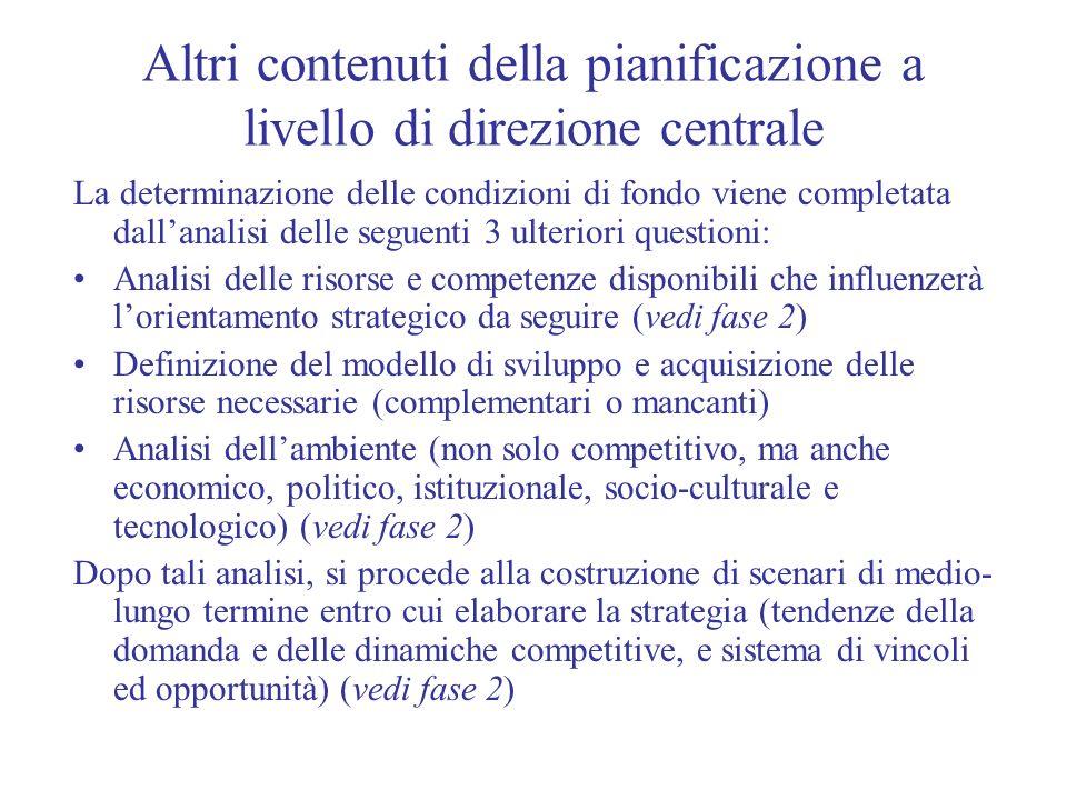 Altri contenuti della pianificazione a livello di direzione centrale
