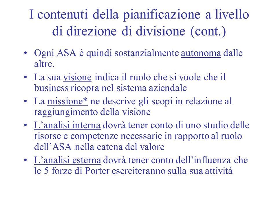 I contenuti della pianificazione a livello di direzione di divisione (cont.)