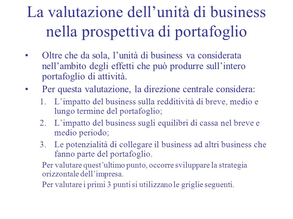 La valutazione dell'unità di business nella prospettiva di portafoglio
