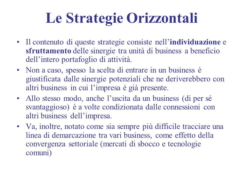 Le Strategie Orizzontali