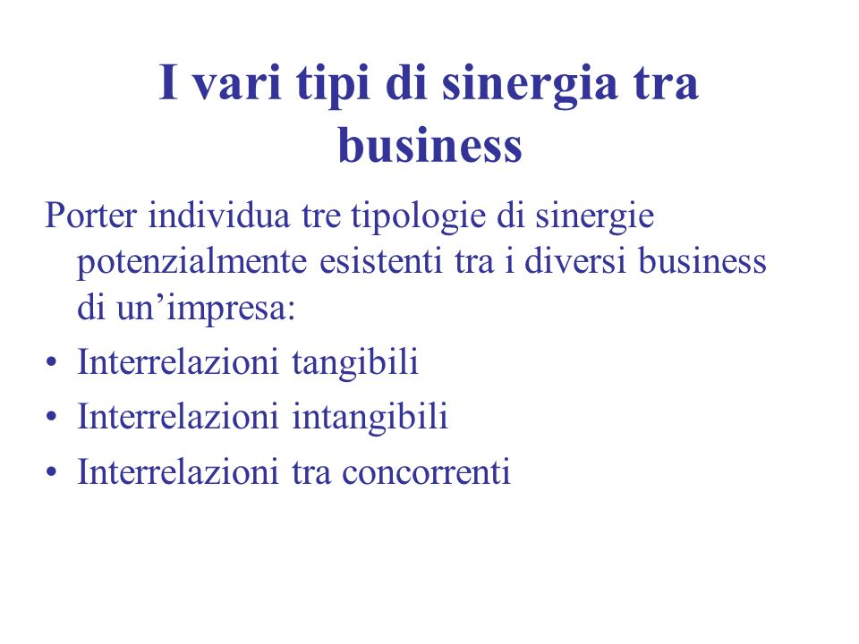 I vari tipi di sinergia tra business