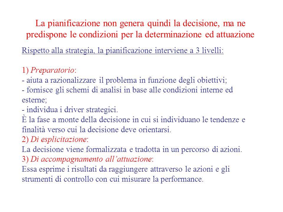 La pianificazione non genera quindi la decisione, ma ne predispone le condizioni per la determinazione ed attuazione