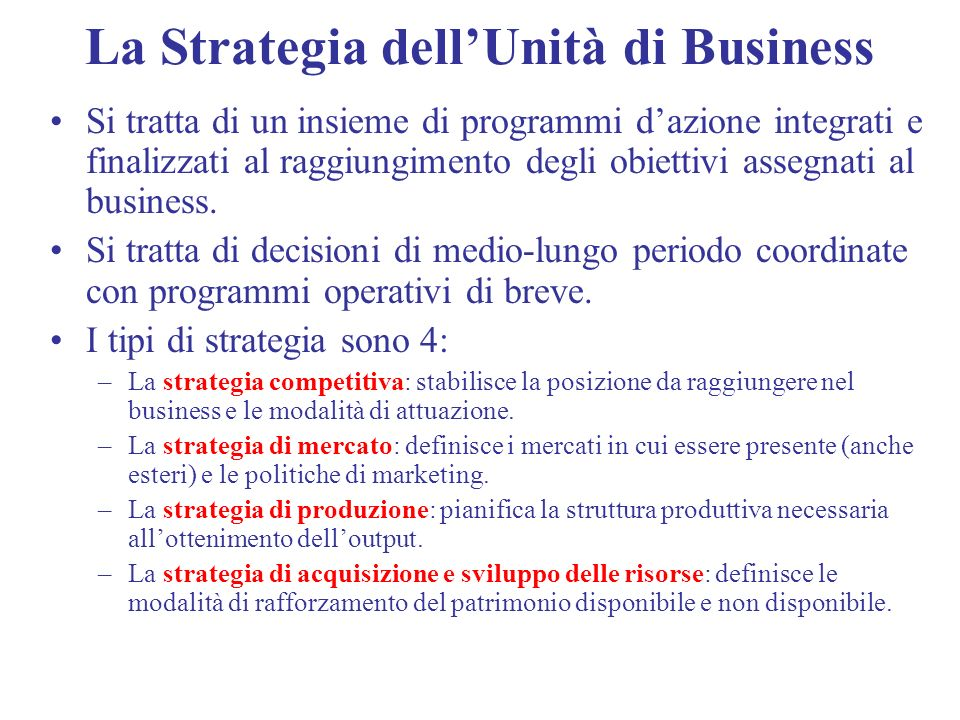La Strategia dell'Unità di Business