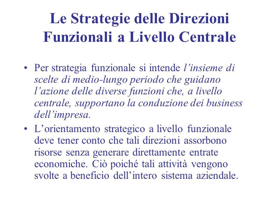 Le Strategie delle Direzioni Funzionali a Livello Centrale